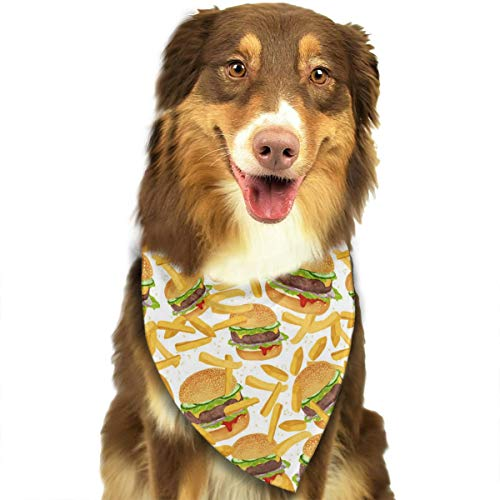 OURFASHION Hamburger and French Fries Bandana Triangle Bibs Scarfs Accessories for Pet Cats and Puppies.Size is About 27.6x11.8 Inches -