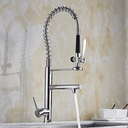 Gulakey バスルームのシンクは、スロット付き浴室の洗面台のシンクホットコールドタップミキサー流域の真鍮シンクミキサータップ春キッチン蛇口プルシンクシンク洗濯蛇口ダブルアウトレット冷温水をタップ