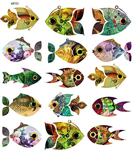 Too Cute Vintage Fish - 68723 - Ceramic Decal - Enamel Decal - Glass Decal - Waterslide Decal - 3 Different Size Sheet (Images) to Choose from. Choose Either Ceramic (Enamel) or Glass Fusing Decals