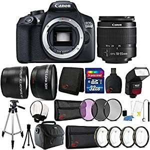 Teds Canon Eos 1300d 18mp Digital SLR Camera 18 55mm Lens Sfd740c Flash and 32gb Accessory Bundle
