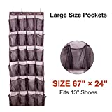 """Aloudy Over the Door Shoe Organizer, 24 Large Visible Pockets(6"""" x 8""""), Space-saving Hanging Shoe Storage with 4 Stronge Hooks, Brown(67"""" x 24"""")"""
