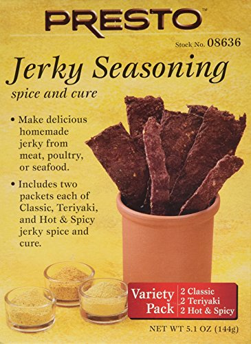 Beef Jerky Spices (Presto Jerky Seasoning Spice Kit Variety Pack with Classic, Teriyaki and Hot and Spicy Seasoning Packets)