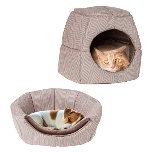 PETMAKER 2 en 1 Convertible Cama para Mascotas, Estampado marrón