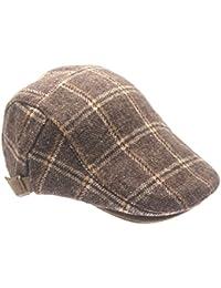 Kids Lattice stripes Ivy Newsboy Cap Tarton Woolen Flat Cap Duck Bill Hat Irish Cap