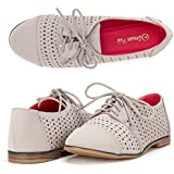 DREAM PAIRS LEXINGTON Women's New Casual Nubuck Upper Cut-Out Lace Up Oxford Flats Shoes