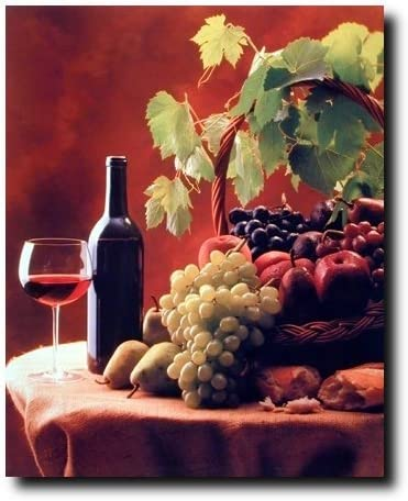 Amazon Com Red Wine Fruit Grapes And Apples Still Life Kitchen Decor Art Print Poster 16x20 Posters Prints