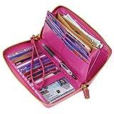 Women RFID Blocking Wallet Wax Genuine Leather Zip Around Clutch Large Travel Purse Hot Pink