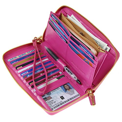 Women RFID Blocking Wallet Wax Genuine Leather Zip Around Clutch Large Travel Purse Hot (Lady Hot Pink Leather)