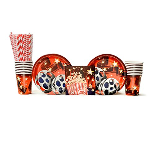 Hollywood Lights Beverage - Hollywood Lights Party Supplies Pack for 16 Guests: Straws, Dessert Plates, Beverage Napkins, and Cups