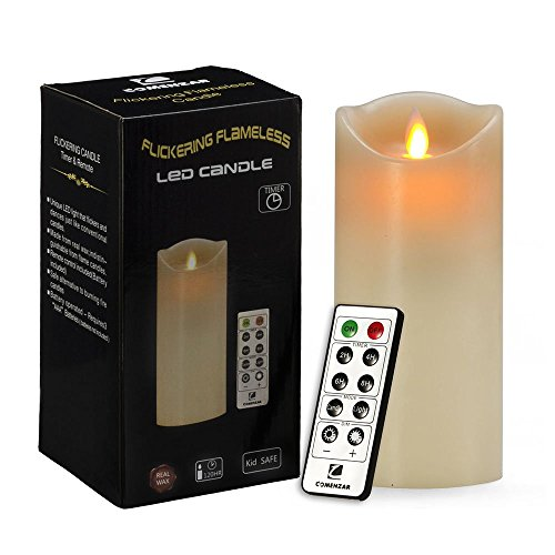 """Comenzar 7"""" Flameless Candle, Battery operated Candle with Remote Timer of 2,4,6,8 Hours ,Flickering Candle for Wedding,Parties Gifts & Decoration use."""