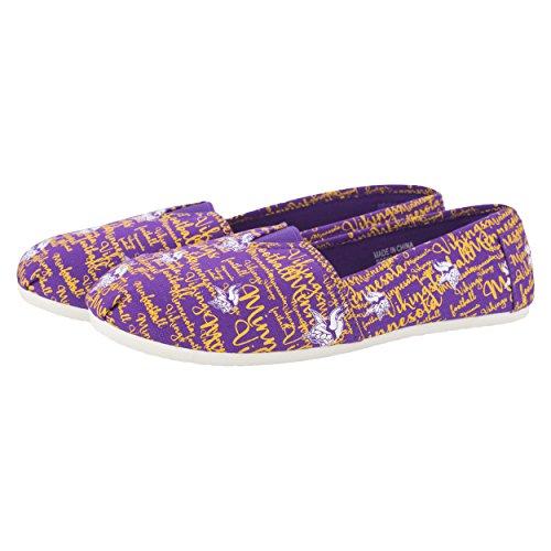 Minnesota Vikings NFL Womens Script Print Canvas Shoes - Medium - Minnesota Vikings Shoe
