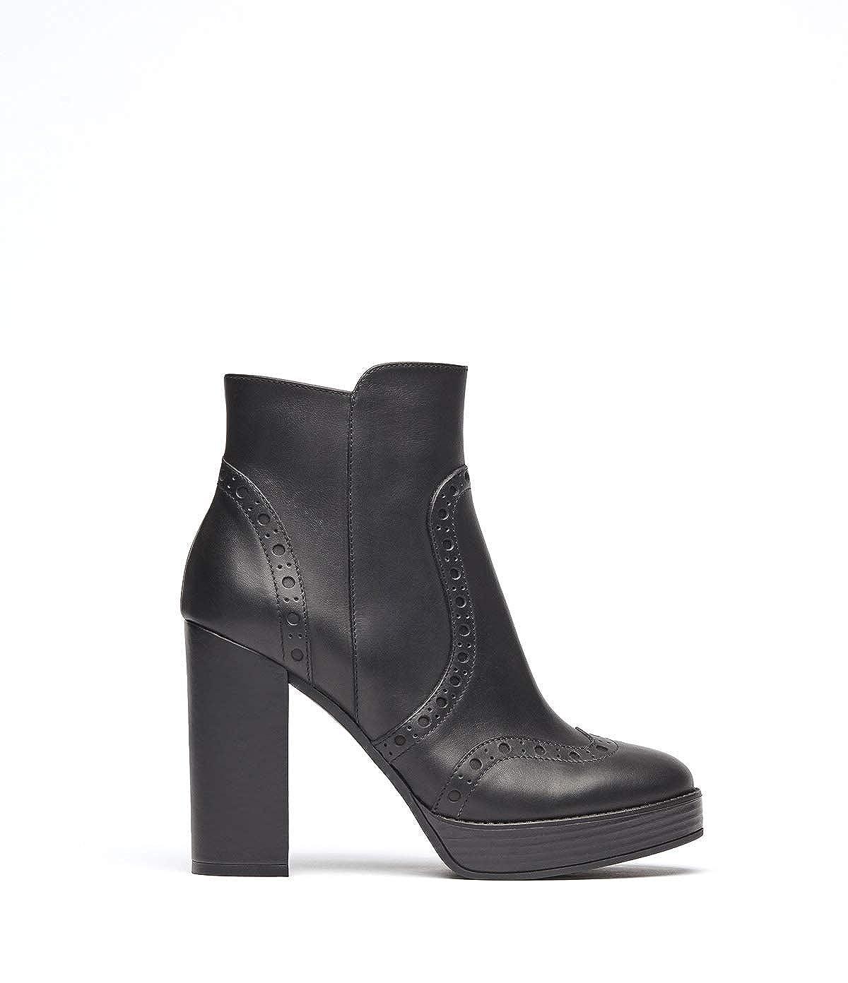 Poi Lei Damen-Schuhe Budapester Stiefelette Agata Schwarz Stiefeletten Blockabsatz Leder  | Ausgezeichneter Wert