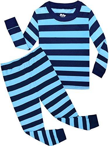 shelry Boys Christmas Pajamas Children Striped PJS Cotton Sleepwear Size 5 - Blue Striped Pajamas