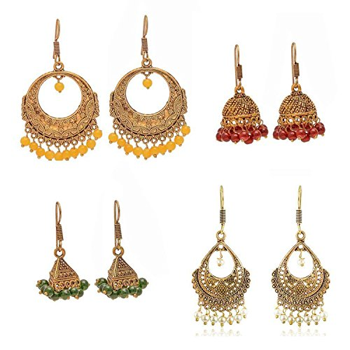 s Oxidized Metal Gold Finish Women Fashion Jhumka Jhumki Earrings Combo Set Of 4 Earring Pair ()
