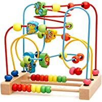 Bead Maze Toys, Children's Wooden Roller Coaster Slide Beads Early Learning Toys - Baby, 1 Year Old and 2 Year Old Classic Development Toys
