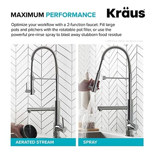 Kitchen KRAUS KPF-1603CH Artec Pro 2-Function Commercial Style Pre-Rinse Kitchen Faucet with Pull-Down Spring Spout and Pot… modern sink faucets