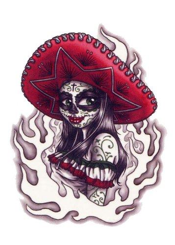 Amazoncom Day Of The Dead Girl With Sombrero Temporary Tattoo Beauty