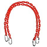 Fully Coated Chain 66 Inch Long + 4 Free Quick Links on Both Sides in Red Waterproof Chain Swingset Seat, Baby Swing, Toddler Swing, Trapeze Bar Playground Equipment Chain, Jungle Gym 2 (1 Pair) (Free Priority Shipping in Continental Usa)