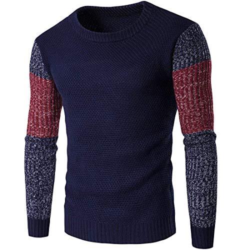 blu maglieria il uomo maglione The e americano scuro e autunno da Color Hit Abbigliamento per inverno moda Ispessimento di xF1w8ZgTq