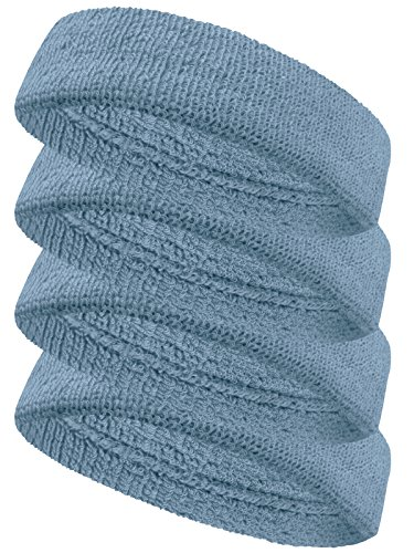 Couver Terry Solid Color Headband / Sweatband - 4 Pieces(Carolina Blue)
