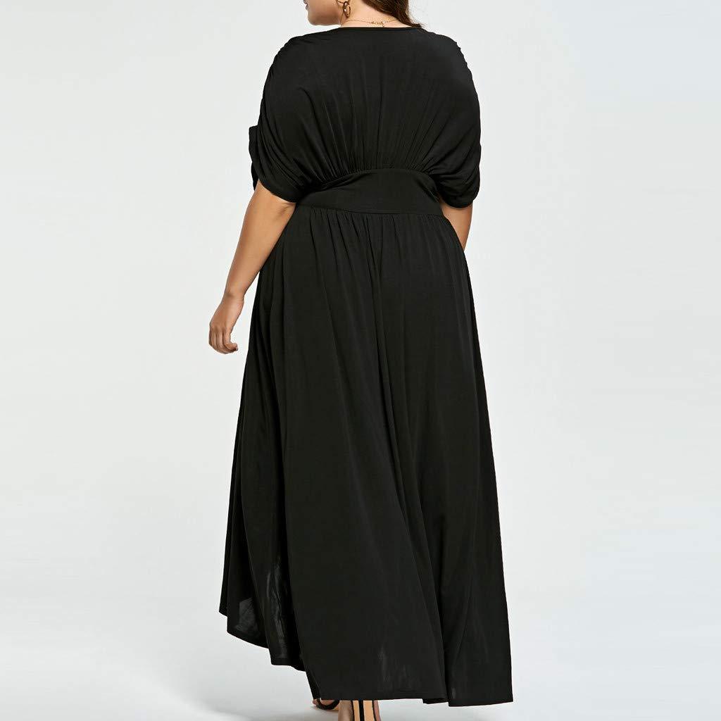 Taille Fashion Grande Robes Col En V Femmes Bluestercool Sexy Longue kXiZuTOP