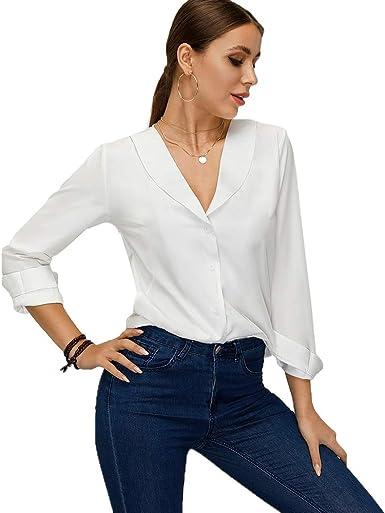 Floryday blusa de manga larga con cuello en V y botones para mujer - Blanco - X-Large: Amazon.es: Ropa y accesorios