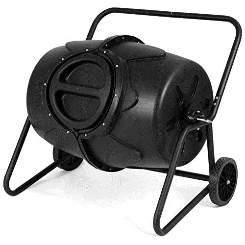 GJH One Wheeled Compost Tumbler Garden Waste Bin Grass Trash Barrel Fertilizer 50 Gallon