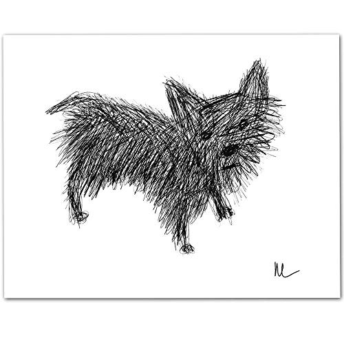 Scribble Yorkie Drawing - 11x14 Unframed Art Print - Makes a Great Gift Under $15 for Dog Lovers ()