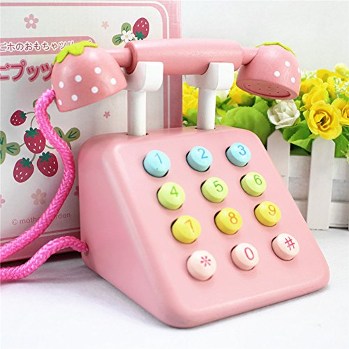 (Samber Kid's Toy Telephone Set Simulation Wooden Telephone Toy Playset Pretend Play Toy Creative Children Telephone Toy Phone Activity Center for Children Baby Pre-schoolers (Pink))