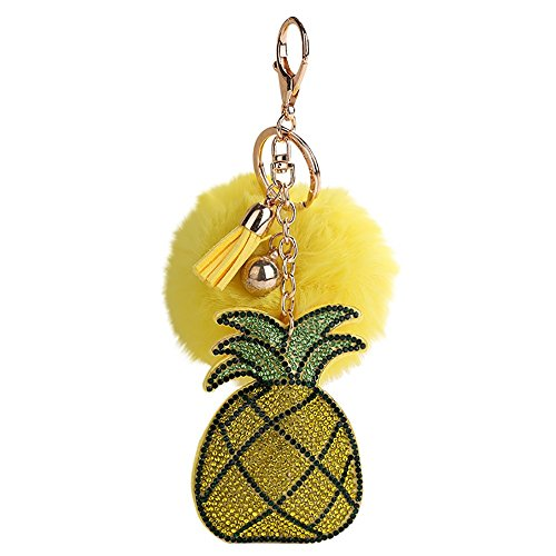 - GBell Cute Diamond Pineapple Furball Keychain Pendant Toys for Girls Women,Fluffy Puff Ball Key Ring Pompoms Key Chains for Backpack HandbagPhone Car Pendant,1Pcs 17X8CM (Yellow)