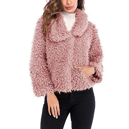 Rossa Solido Pink Di Manica Pelliccia Pelle Corta Pellicce Tasca Lunga In Sintetiche Giacca Collare Artificiale Rifinitura Morwind Donna zYwggq