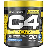 Cellucor C4 Sport Pre Workout Powder Sports Hydration & Energy Drink Supplement with Creatine Monohydrate & Beta Alanine, Blue Raspberry, 30 Servings