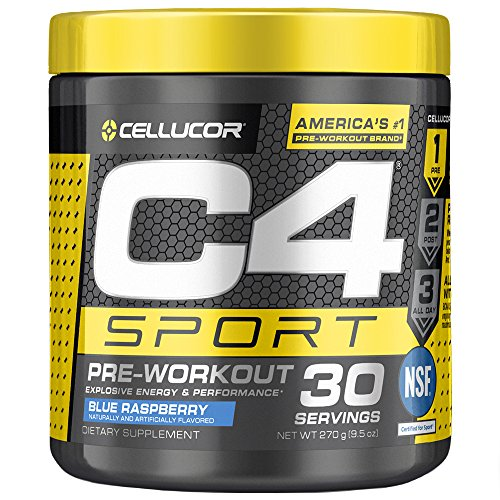 Cellucor C4 Sport Pre Workout Powder Sports Hydration & Energy Drink Supplement With Creatine monohydrate & beta Alanine, Blue Raspberry, 30 -