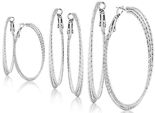 Hoop Earrings Set For Women Men Silver Gold Gunmetal Grey Tone Plate Round Fashion Jewelry 3 Pairs (Hoop Charm Double)
