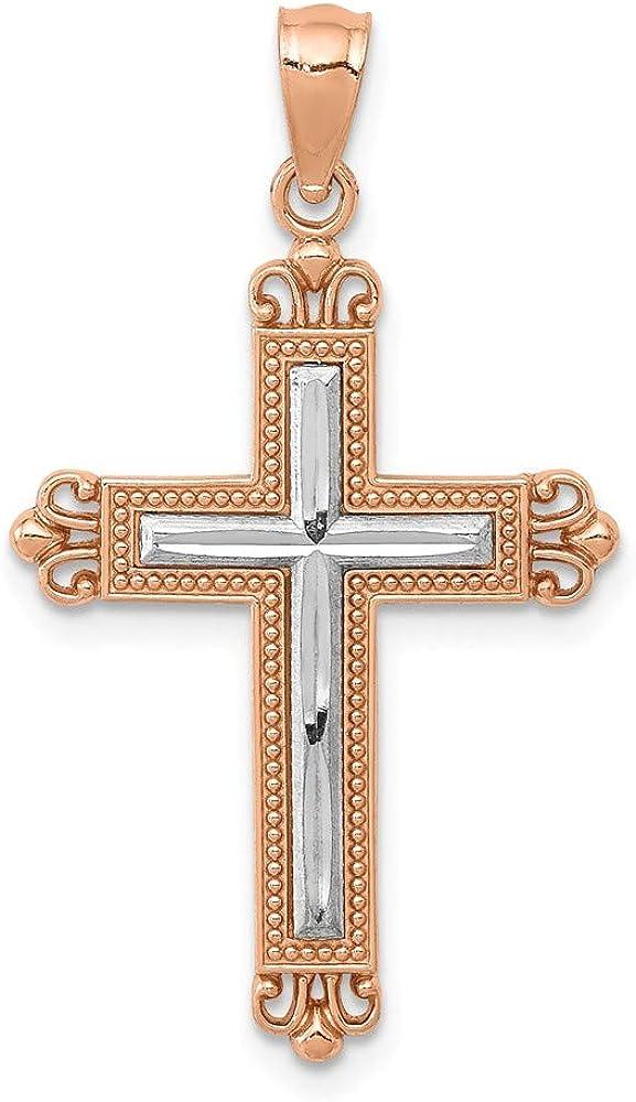 FB Jewels Solid 14K Rose Gold /& Rhodium Plated Diamond-Cut Cross Pendant