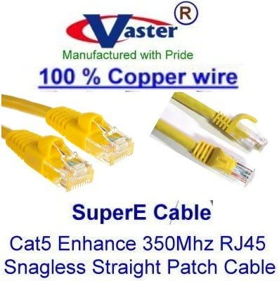 SuperEcable -20679-10 Pcs//Pack 20 Ft UTP Cat5e Yellow Ethernet Network Patch Cable UL 24Awg Pure Copper