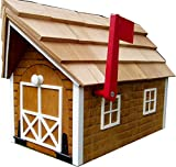 Log Cabin-look Mailbox Cedar Stain Finish with White Trim Amish Made in USA