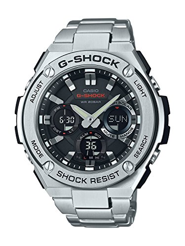 Casio Men's 'G SHOCK' Quartz Resin and Stainless Steel Casual Watch, Color:Silver-Toned (Model: GST-S110D-1ACR)
