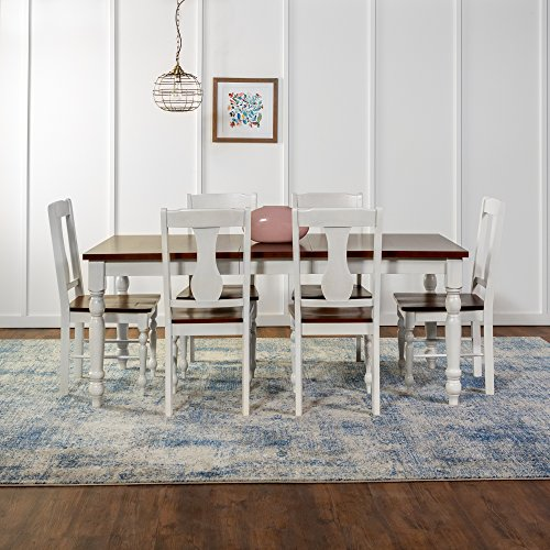 New 7 Piece Two Toned Wood Dining Set