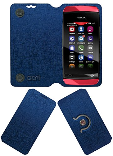 acm designer rotating Flip Cover flap case compatible with nokia asha 305 mobile stand cover blue