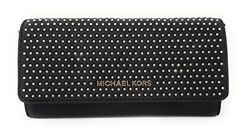 Michael Kors Jet Set MIcro Stud Saffiano Leather Convertible Chain Wallet (Black) by Michael Kors