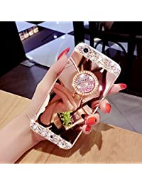 Mirror Case for iPhone X, Girlyard Luxury Crystal Rhinestone Soft TPU Rose Gold Rubber Bumper Case Bling Glitter Makeup Mirror Back Case with Rotating Ring Stand Holder for iPhone X