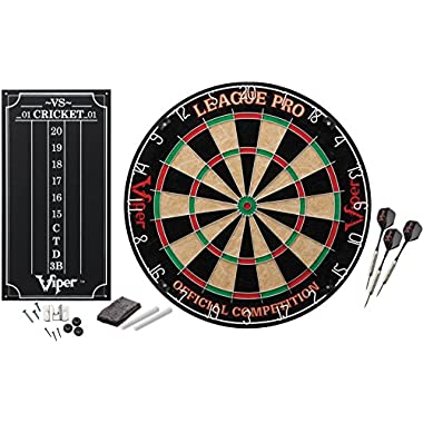 Viper League Pro Sisal/Bristle Steel Tip Dartboard with Staple-Free Bullseye and Cricket Scoreboard Kit