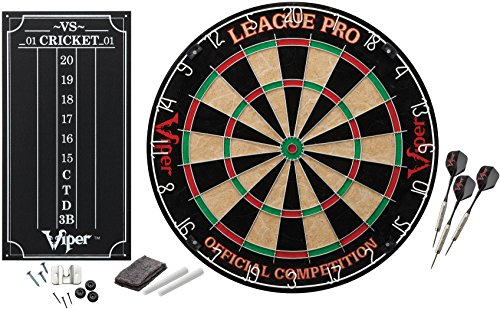 Viper League Pro Sisal Fiber Bristle Dartboard with Staple-Free Bullseye and Cricket Scoreboard Kit