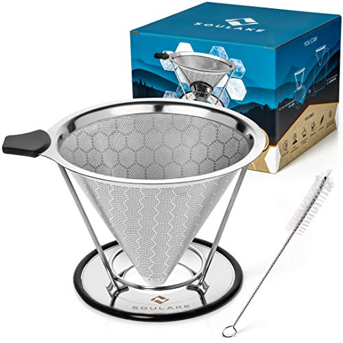 (Pour Over Coffee Dripper by Soulake - Reusable Stainless Steel Mesh Filter With Drip Stand And Cleaning Brush - Eco Friendly Brewing - Stop Wasting Paper Filters and be environmentally smart)