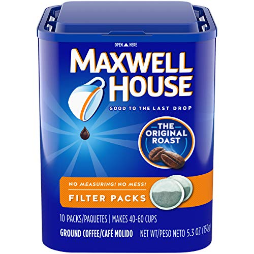 - Maxwell House Original Medium Roast Coffee Filter Packs (40 Count, 4 Canisters of 10)