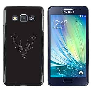 TopCaseStore / la caja del caucho duro de la cubierta de protección de la piel - Antlers Christmas Polygon - Samsung Galaxy A3 SM-A300