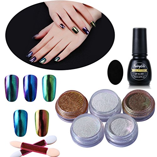 FairyGlo Nail Polish 5 Packs Chrome Nail Powder Colour Chang