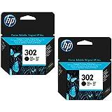 HP 302 Standard Capacity Black Original Ink Cartridge - Letterbox Friendly. 2 pack