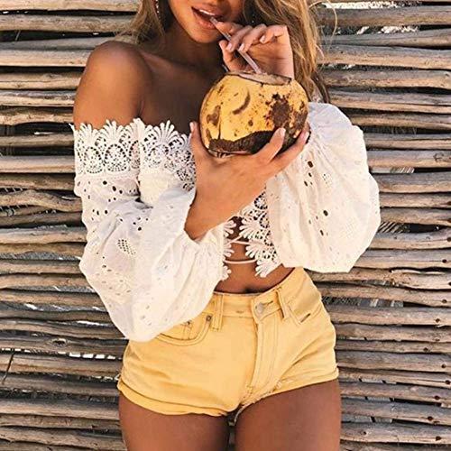 Croises Uni Profond Nues paules En Et Longues Crop Col Top Qualit V Manche Crop Printemps Sangles Dentelle Haute lgant Manches Femme Pin Up Shirt De Creux Tops Cocktail Blanc Tops Classique Fille Mode RvRqUTZ